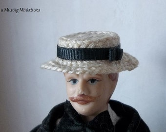 As Seen on WOW! Cable Network Straw Boater Hat for Dollhouse Miniature 1:12 Scale Gentleman
