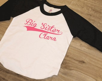 BIG SISTER - Kid's personalized NAME raglan baseball shirt