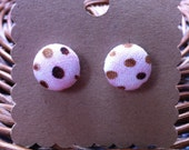 Pink and Brown Button Earrings