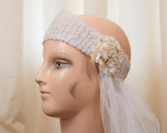1920s Bridal Headpiece // Tulle Tiara with Velvet Flowers