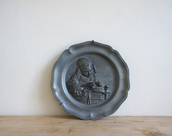 Vintage French Pewter Plate // Decorative Wall Hanging // Folk Embroidery // Traditional Woman // Silver Grey // French Country Rustic Deco
