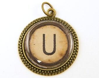Letter U Pendant - Initial Jewelry Personalized Resin Alphabet Charm Circle Pendant Old Typewriter Key