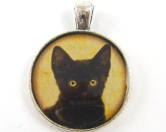 Black Cat Pendant - Black Gold Feline Silver Pet Jewelry Charm