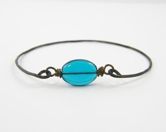 Teal Bangle Bracelet - Stacking Bangle Brown Brass Wire Stackable Minimalist Blue Green Bead Jewelry