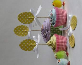 Easter cupcake topper - food pick - tooth pick yellow glitter polkadot egg with bow 8 pcs