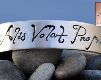 Alis Volat Propriis - She Flies With Her Own Wings - Made to Order - Personalized Hand Stamped Custom Bracelet Cuff - Mother's Day Gift