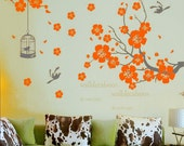 Vinyl Wall Decals Cherry blossom Wall Stickers wall decor room decor girl kids decal flower decal  room decor