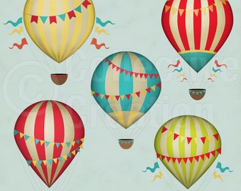 Vintage Hot Air Balloons Digital Clip Art Set - Commerical and Personal use
