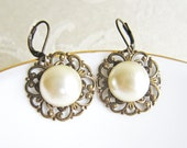Pearl Earrings Dangling Pearl Earrings Ivory Pearl Earring White Pearl Earrings Bridesmaids Earrings Something Old