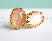 Peach Wedding Peach Bridesmaids Earrings Studs Gold Plated Post Elegant Chic Modern Victorian Fall Wedding Burnt Orange