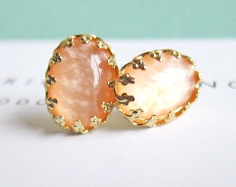 Peach Wedding Jewelry Bridesmaids Gift Bridal Earring Studs for Bride Gold Plated Post Elegant Chic Modern Victorian Soft Orange Blush AD1