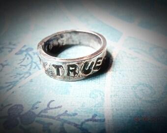 Rustic Stamped Silver True Love Waits Ring,Stamped True Love Waits Ring, Fine Silver 99.9, Christian Jewelry Original