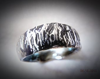 Mens Rustic Silver Carved Wedding Band, Wedding Ring. Tree Bark Wedding Band. Sterling Silver. Unique Wedding Bands.