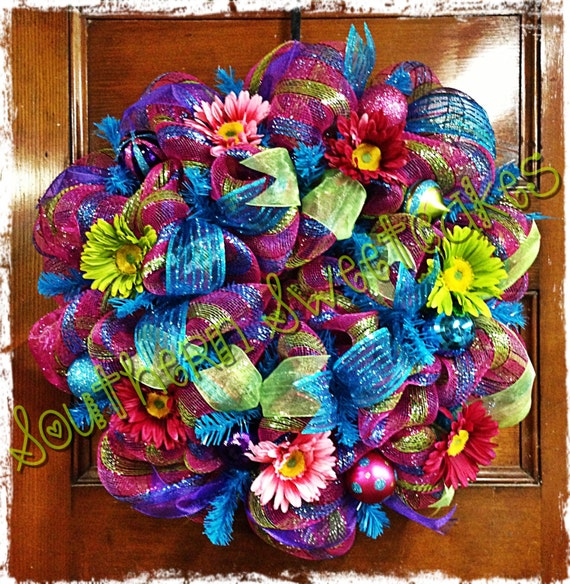 Bright colorful spring summer floral mesh wreath for Colorful summer wreaths