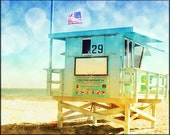 Beach Photography, Lifeguard Tower, California Photography, Santa Monica, Retro Home Decor,