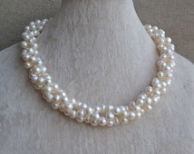 white pearl necklace,twisted necklace,18 inches 7-8mm freshwater pearl necklace, white pearl necklaces, wedding necklace,statement necklace