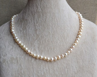 Ivory Pearl Necklaces,Freshwater pearl 6-7mm ivory Pearl Necklace,wedding necklace,pearl jewelry,statement necklace ,women necklace