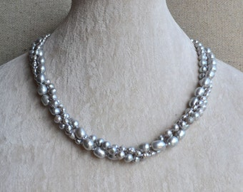 pearl necklace-18 inches 3 rows 3-8mm Freshwater Pearl necklace.Gray pearl necklace , bridesmaid necklace,twist pearl necklace