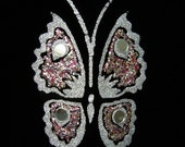 ON SALE Blingy Butterfly Vintage 1960s in Black Velvet Fabric Swatch