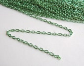 Flat cable chain shiny spring green 4x3mm links 5 Feet MB0032
