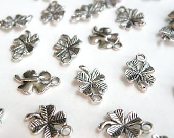 10 Four Leaf Clover Shamrock charms antique silver 15x11mm DB01309