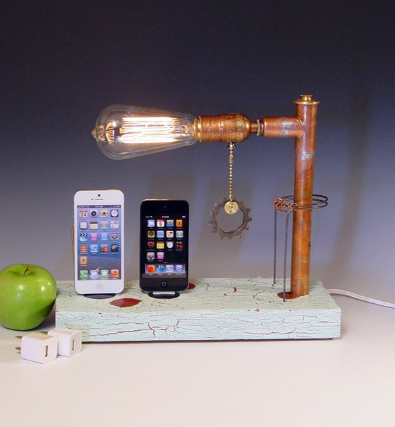 Double iPhone 3 4 5 dock AND table lamp. Reclaimed wood