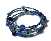 ocean blue mixed glass bead memory wire wrap bracelet