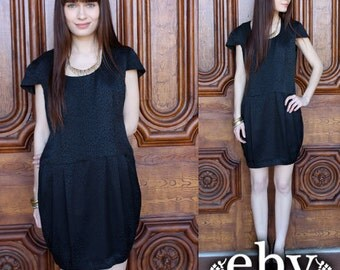 Little Black Dress Silk Dress Party Dress Vintage 80's Black Silk Mini Dress S M Black Silk Dress Silk Black Dress