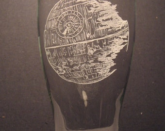 "Star Wars Death Star  inspired pilsner glass Engraved Glass ""PICK YOUR STYLE"""