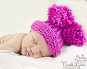 Baby Girl Hat - Newborn Knitted Pink with Pom Poms Prop.