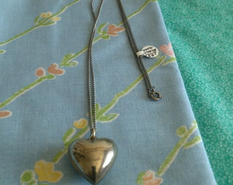 """Silver Puff Heart on 24"""" Chain"""
