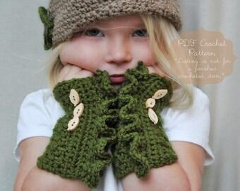 Crochet Pattern: The Juniper Wrist Warmers -Toddler, Child, & Adult Sizes-ruffle, button, textured, crochet pattern