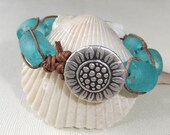 "Teal Sunflower Bracelet Woven Leather ""Montauk"" Recycled Glass Boho Surfer Style Macrame ""Betty Bracelet"""