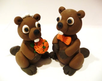 Beaver Wedding Cake Topper - Choose Your Colors