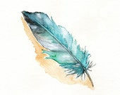 Feather / Blue / Azul / Teal / Aqua / Watercolor Print
