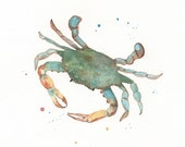 Blue Crab/teal, blue, green, yellow Watercolor/ Archival Print