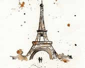 Eiffel Tower / Paris / mustard yellow and gray/yellow and grey romance watercolor print - kellybermudez