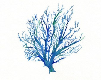 No.4 Sea Coral / watercolor print / dark blue /  teal / light blue / aqua / sea / ocean life /