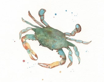 Blue Crab, beach art, beach painting, crab painting, Watercolor, Archival Print