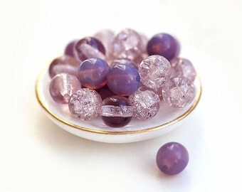 Czech glass beads mix in Violet Lavender Amethyst - round spacers, 6mm - 30Pc - 531