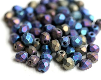 4mm Iris blue mix czech glass beads, Fire polished, round faceted spacers, matte - 4mm - 50Pc - 0637