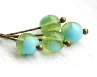 Lagoon Czech beads mix in Blue and Green, round spacers, druk - 6mm - 30Pc - 2657