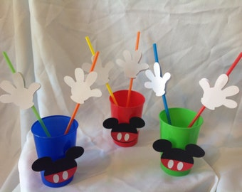 Mickey Mouse Birthday Party Drinking Straws & Cups 10 count