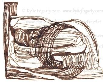 ACEO, Abstract, Original OOAK Drawing, Brown Ink, Ink Line Drawing, Abstract Line Drawing, Abstract Landscape Art, Miniature Original Art