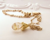 Gold Rutilated Quartz Gold Necklace