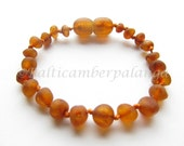 Raw Unpolished Dark Cognac Color Baltic Amber Baby Teething Bracelet/Anklet