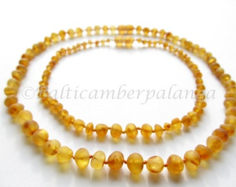 Baltic Amber Baby Teething Set for Baby and Mommy, Raw Unpolished Light Cognac Color Beads