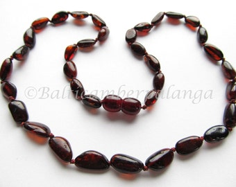 Baltic Amber Necklace Cherry Color Olive Beads. For Adults