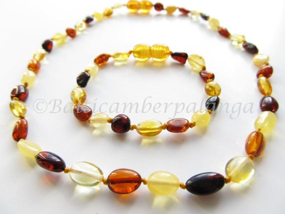 Set Of Baltic Amber Baby Teething Necklace and Anklet/Bracelet Olive Form Multicolor Beads