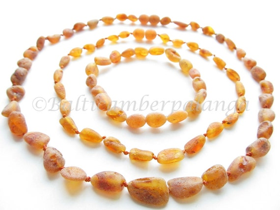 Set Of Raw Unpolished Cognac Color Baltic Amber Baby Teething Necklace For Baby and Reminding Necklace and Bracelet for Mommy